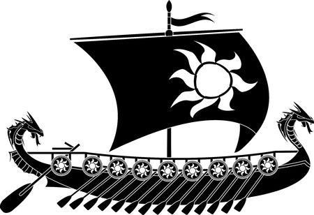 drakkar viking. stencil. Stock Vector - 8625276