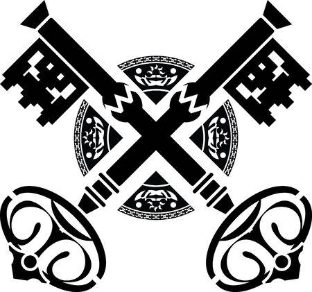 medieval keys. fourth variant. stencil.  Vector