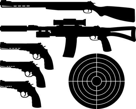weapons silhouettes and target. Stock Vector - 8625279