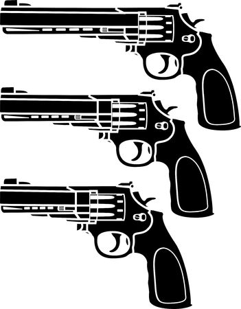 revolver: set of pistols. stencil.