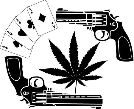 handgun: cards, hemp and two pistols  Illustration