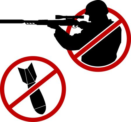 no war: signs of antisniper and no war.  Illustration