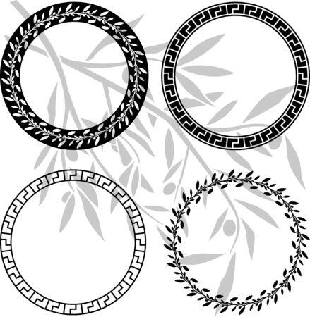 ancient civilization: ancient hellenic patterns in rings. stencils. Vector illustration Illustration
