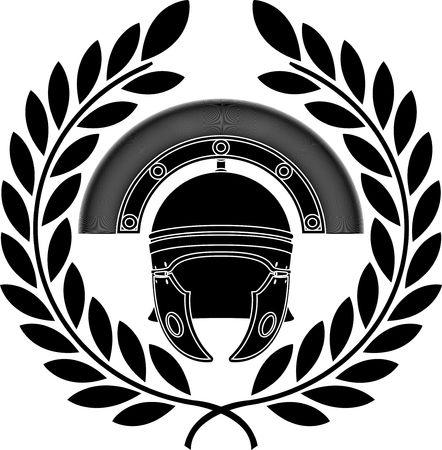cascos romanos: Casco Romano. Galer�a de s�mbolos. tercera variante. Ilustraci�n vectorial Vectores