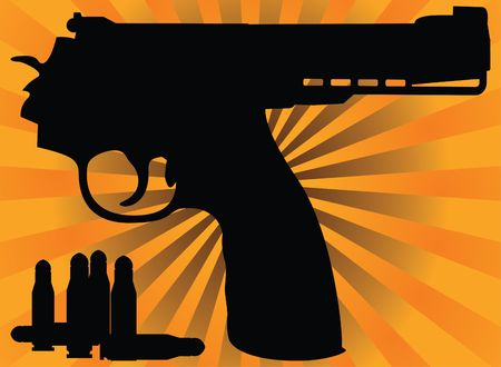 correct pistol and cartridges. Vector illustration Vector