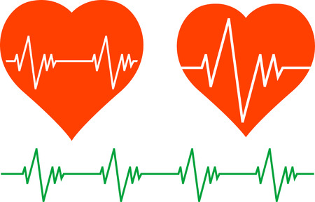 taking pulse: stencils of cardiogram. Vector illustration Illustration