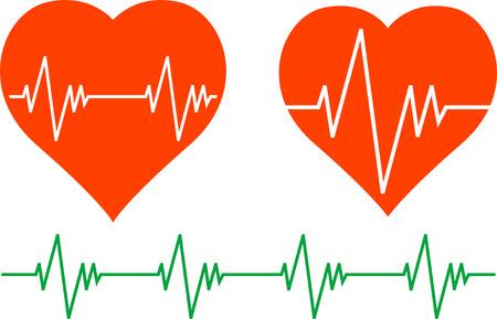 taking pulse: stencils of cardiogram. Vector illustration Illustration