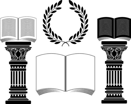 roman column: education. stencil. first variant. Vector illustration