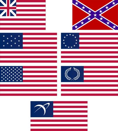 american flags: set of american flags  Illustration