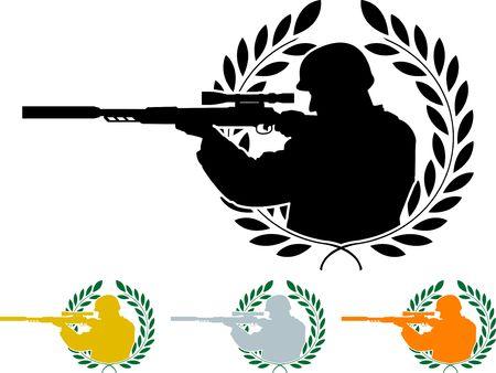 shooter: stencil of sniper  Illustration