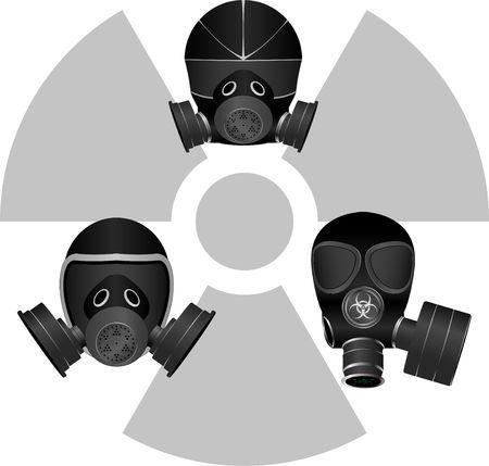 radiation sign: gas masks and radiation sign  Illustration