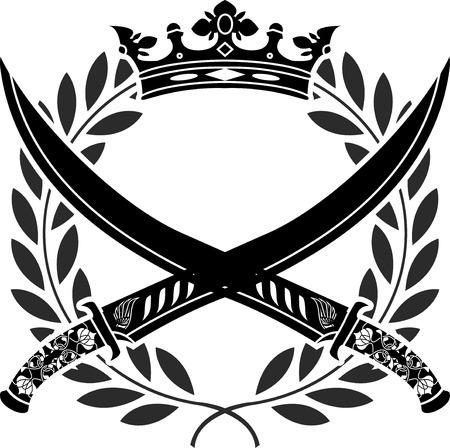 scimitar: military glory. stencil.