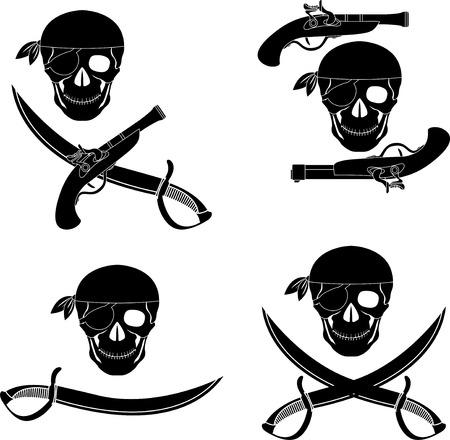 set of pirates skulls. stencils.  Vector