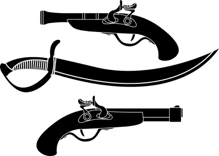 weapon of pirates. stencil  Vector