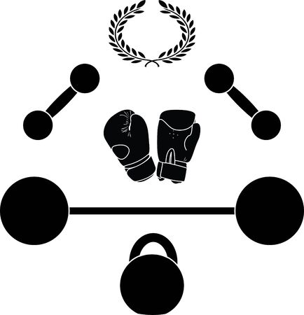 weights and boxer gloves.third variant  Vector