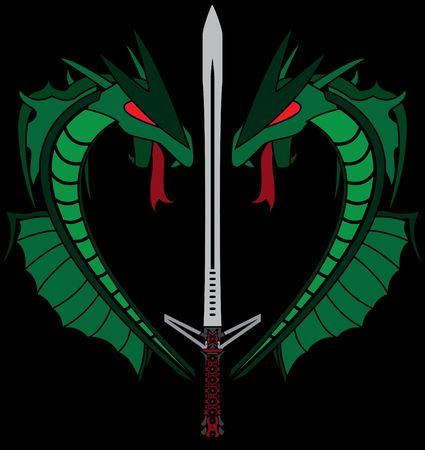 green dragons and sword. stencil Stock Vector - 8976602