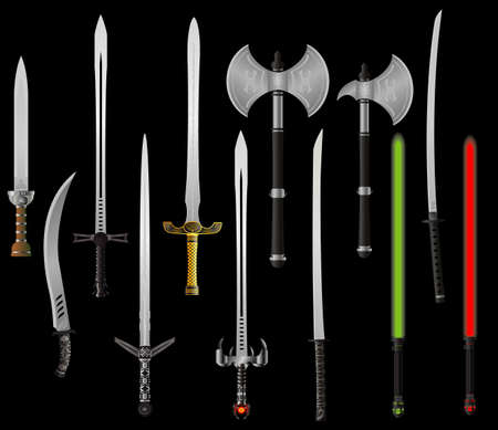 set of fantasy swords and axes