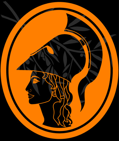 war decoration: stencil of athena profile