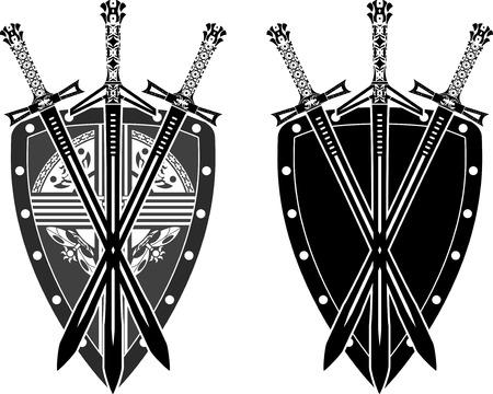 three swords and shield. stencil Stock Vector - 8976609