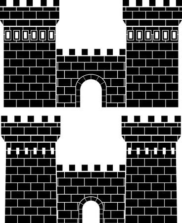 castello medievale: due porte. stencil Vettoriali