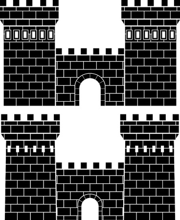 castle tower: two gates. stencil Illustration