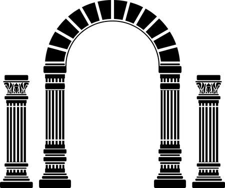Arco de fantasía y columnas. Galería de símbolos. primera variante. ilustración vectorial Ilustración de vector