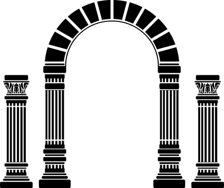 roman column: fantasy arch and columns. stencil. first variant. vector illustration Illustration