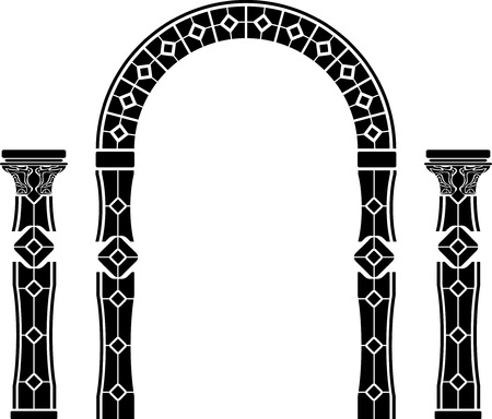 archway: fantasy arch and columns. stencil. second variant. vector illustration Illustration