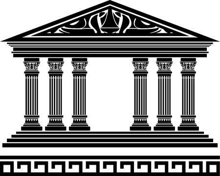 hellenic: fantasy temple. fourth variant. stencil. vector illustration