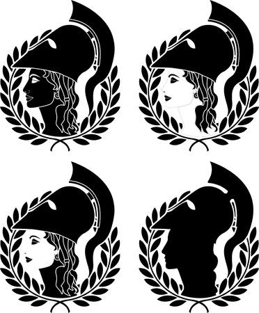 set of athena profiles. stencils Vector