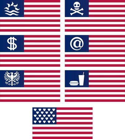 set of fantasy american flags