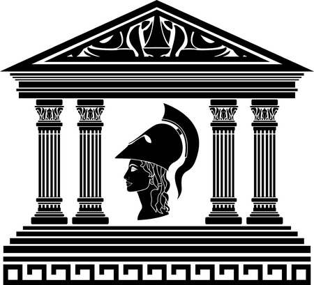 arte greca: Tempio di Atena. stencil
