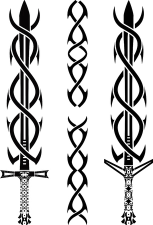runes: tattoo swords. stencil. vector illustration