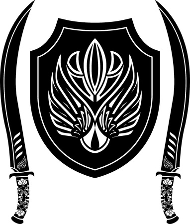 war decoration: fantasy arabian shield and swords. stencil. vector illustration Illustration
