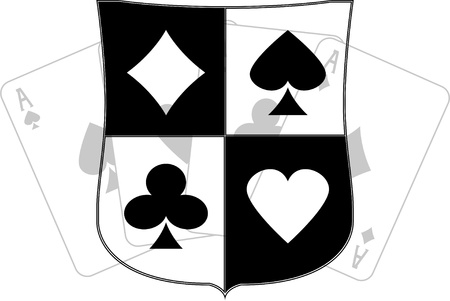 stencil art: stencil of shield with card suits. vector illustration