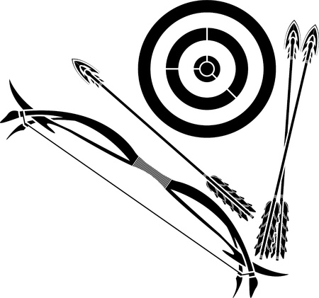 targeted: bow and target. stencil. vector illustration