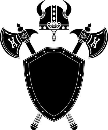 vikingo: casco de escudo, ejes y viking. Galer�a de s�mbolos. ilustraci�n vectorial