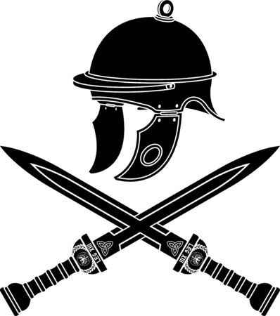 roman helmet and swords. first variant. stencil. vector illustration Vector