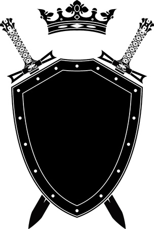 dangerous weapons: shield, swords and crown. stencil. vector illustration