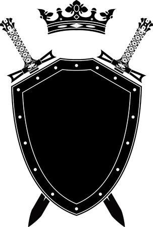 Shield, zwaarden en kroon. stencil. vectorillustratie