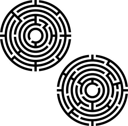 two labyrinths. stencil. vector illustration