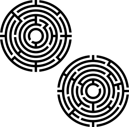 labyrinth: two labyrinths. stencil. vector illustration