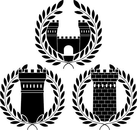 bollwerk: Satz von T�rmen. Schablonen. Vektor-illustration Illustration