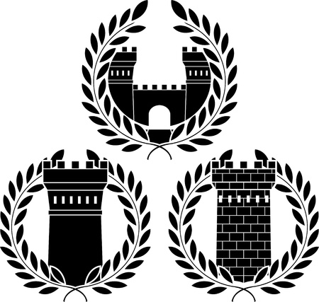 stronghold: set of towers. stencils. vector illustration Illustration