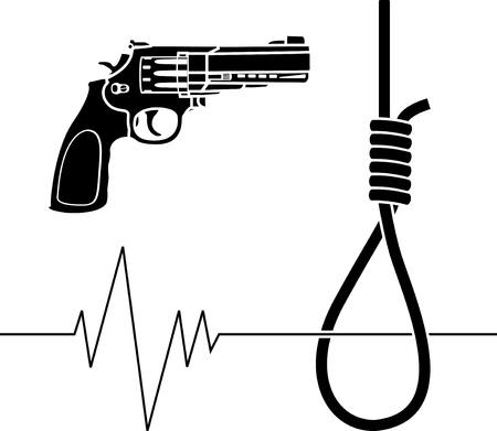 noose: suicide. stencil. vector illustration for design