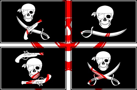 set of pirates flags. stencils. Stock Vector - 9287669
