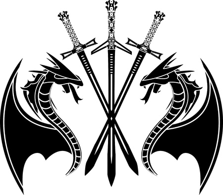 dragons and swords. stencil.  Vector