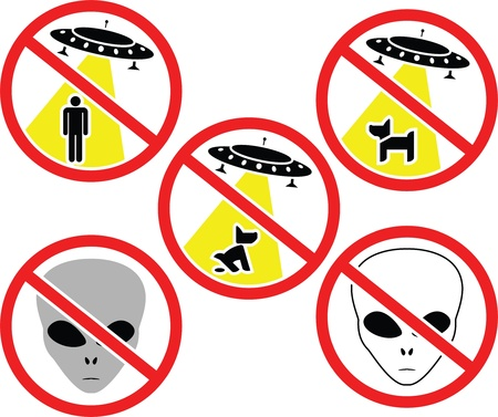 warning signs for aliens. Stock Vector - 9287671