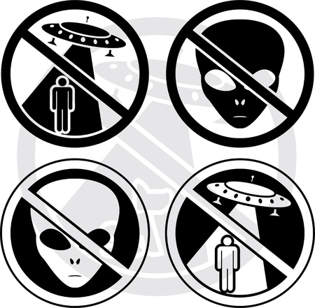 abduction: set of danger UFO signs Illustration
