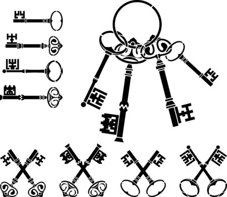 set of medieval keys Stock Vector - 9349069